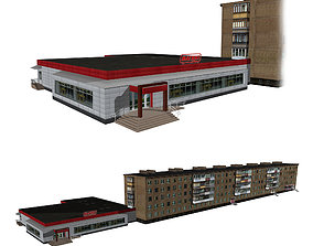 Residential building with attached shop 3D