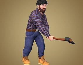 Lumberjack 3D model animated