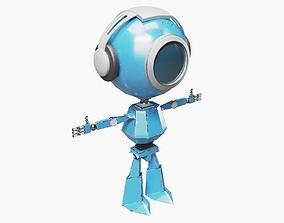 3D model Blue Robot in Headphones