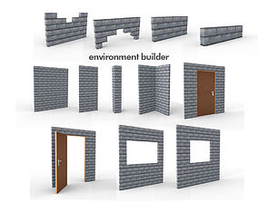 Wall Environment builder modular wall set 3D model