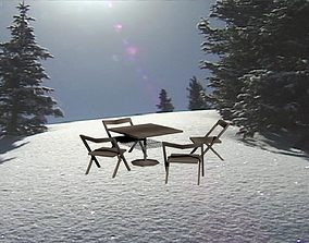 Seats And a Table 3D asset