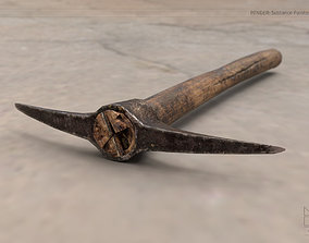 low-poly Old Steel Pickaxe 3d Model