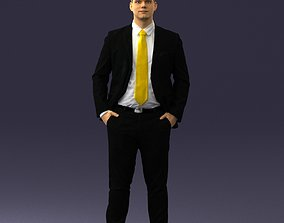 Man in suit and yellow tie 0489 3D print ready