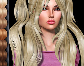Chia Female hair style 3d rigged rigged
