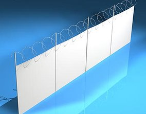 Fence with barbed wire 3D