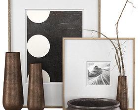 Rh Grand Hammered Metal Floor Vases with Frames 3D asset