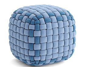 3D model Pouf fabric and velvet