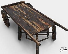 3D asset Wooden cart 2 burnt