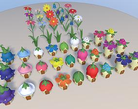 3D asset Cartoon Fairy village