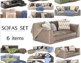 leather 3D Poliform 6 sofas set