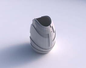 Bowl compressed with sharp ribbons 3D printable model