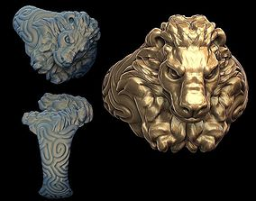 Lion ring silver 3D print model