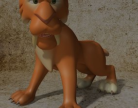 3D model Cartoon Sabertooth Tiger RIGGED