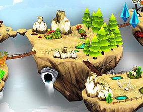 Floating Island For Mobile 3D asset