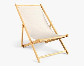3D asset Wood Beach Chair
