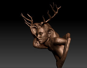 Deer Girl Wall Trophy 2 different Versions 3D print model