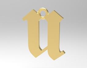 Gothic Alphabets Little U Pendants 3D print model
