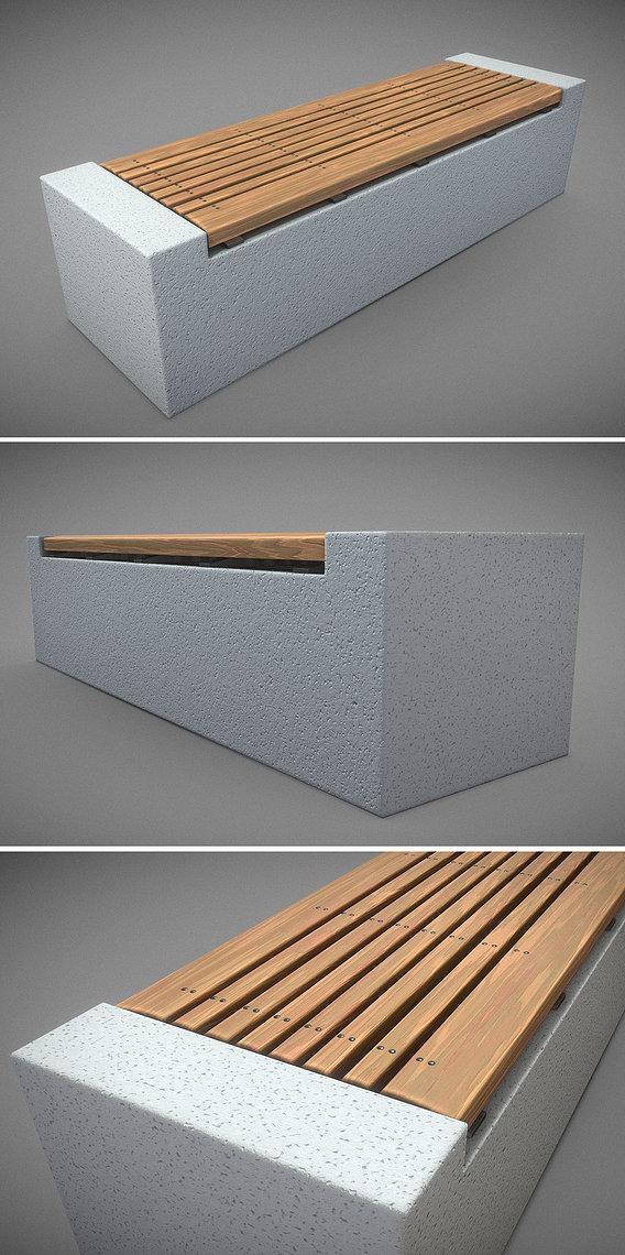 Bench -6- Wood on Concrete Block 2