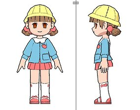 japanese kid anime style lowpoly animated 3D model