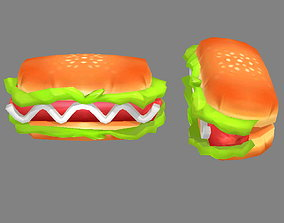 3D asset Cartoon Food-Hot Dog