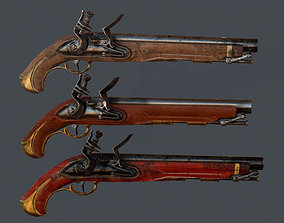 Old Musket Pistol 3D asset game-ready