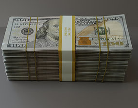 3D stack of dollars model low-poly