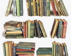 3D old books on a shelf set 3