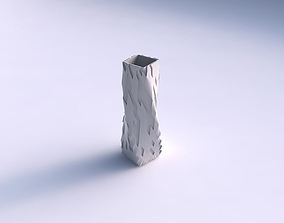 3D print model Vase twisted rectangle with cavities