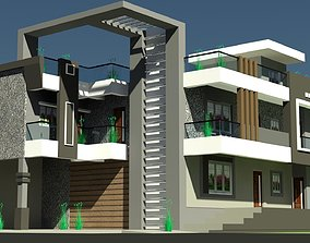 3D asset Indian Modern House Design And Architecture
