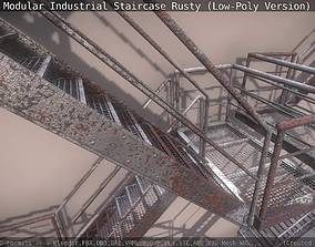 Modular Industrial Staircase Rusty - Low-Poly 3D asset