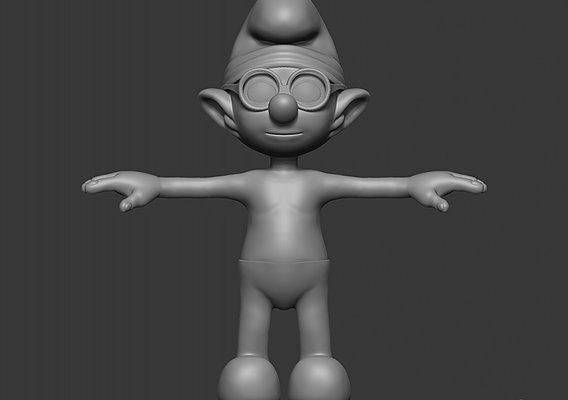 HIgh Poly Brainy Smurf