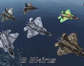 Mobile Low Poly F22 Raptor 3D asset
