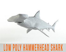 3D asset Hammerhead Shark Low Poly Predator Jaws Lowpoly