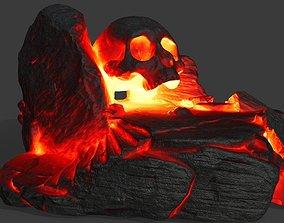 3D asset fire skull cave
