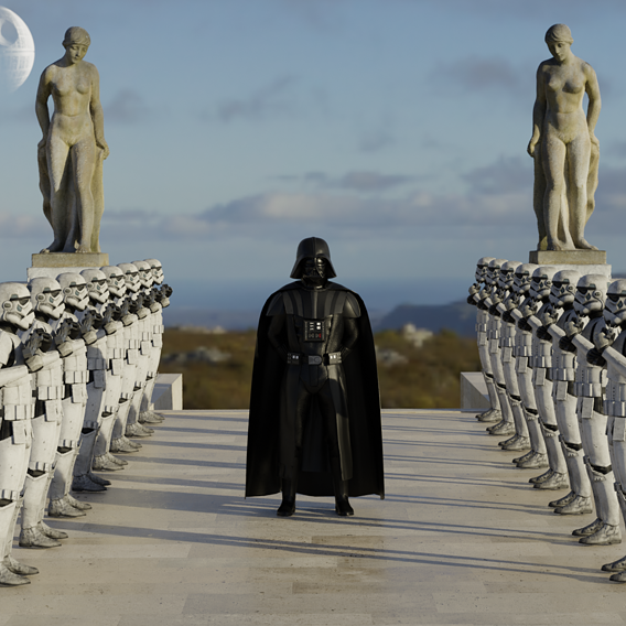 Darth Vader with Stormtroopers