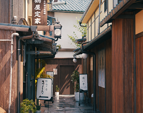 3D Blender Japan old alley with day-night and weather