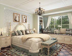 3D model New classicism style with cloakroom large bedroom