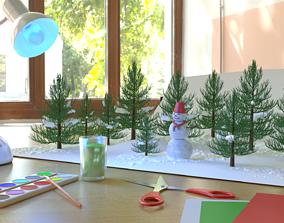 3D model Winter composition snowman trees lamp 1