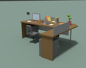 3D model Low Poly Cartoony Office Desk