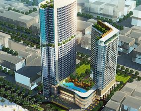 3D model Detailed high rise building complex