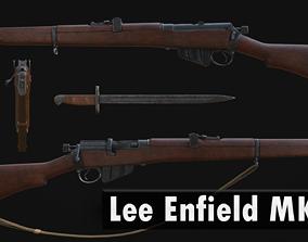 3D model Lee Enfield MK III and Bayonet