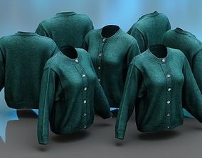 Green Button Cardigan Pull Top 3D model