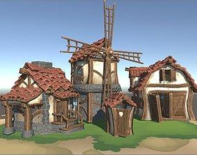 3D model Stylized farm buildings