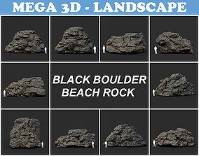 3D asset Black Boulder Beach Rock Collection 210804