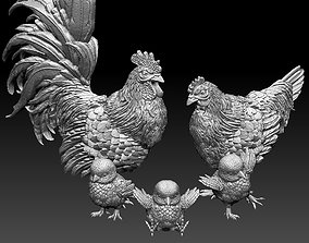 3D printable model hen cock chick