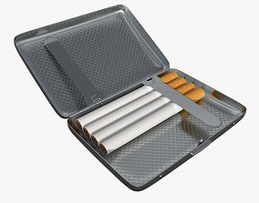 3D Cigarette metal case box 01 open