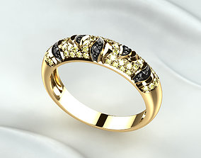 3D printable model Rhodium Golden Ring with Diamonds