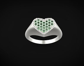 3D print model Signet ring heart for woman