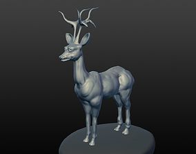 3D model deer sculpted