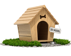 3D model grass Dog House
